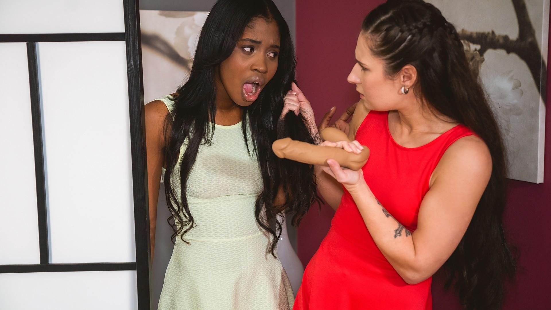 Ebony teen shares dildo pleasure - Lesbea
