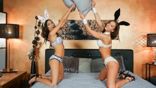 Playful pussy eating Easter bunnies - Lesbea